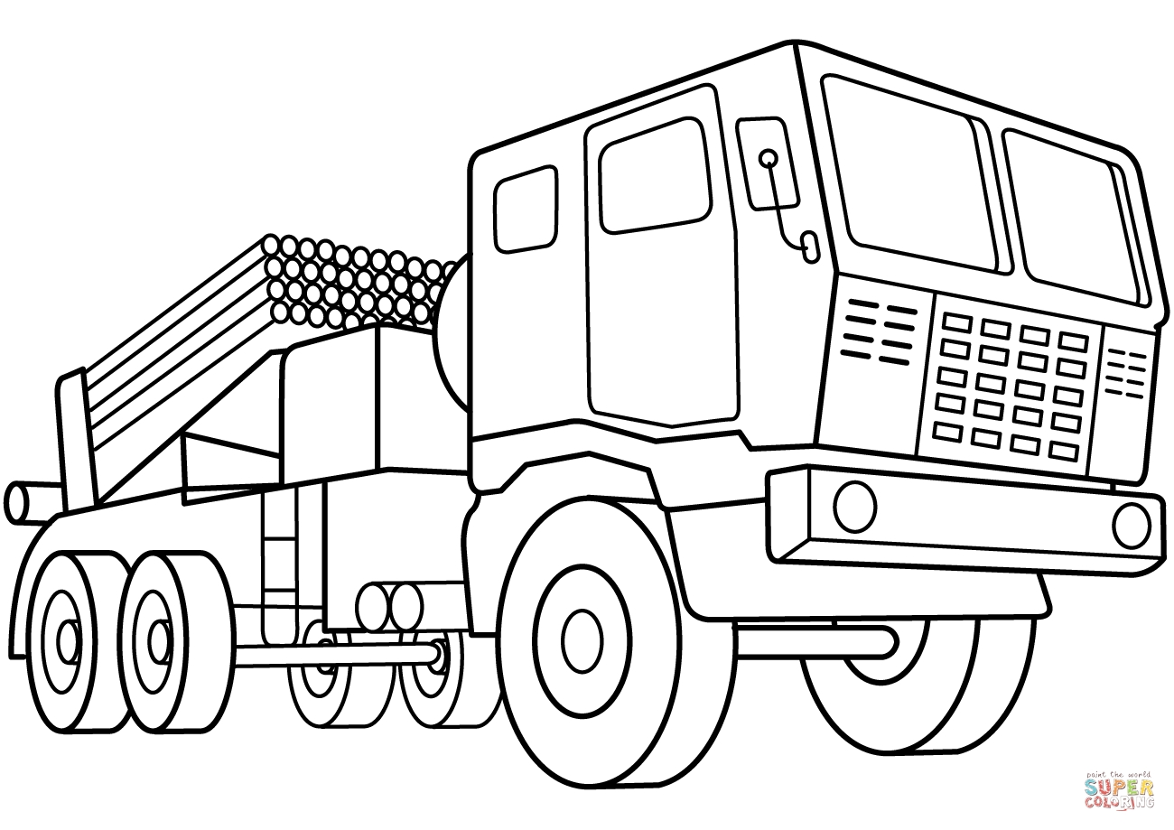 Vehicle Coloring Pages - Multiple Rocket Launcher Vehicle Coloring Page