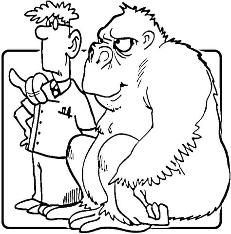 veterinary coloring pages - gorilla and vet