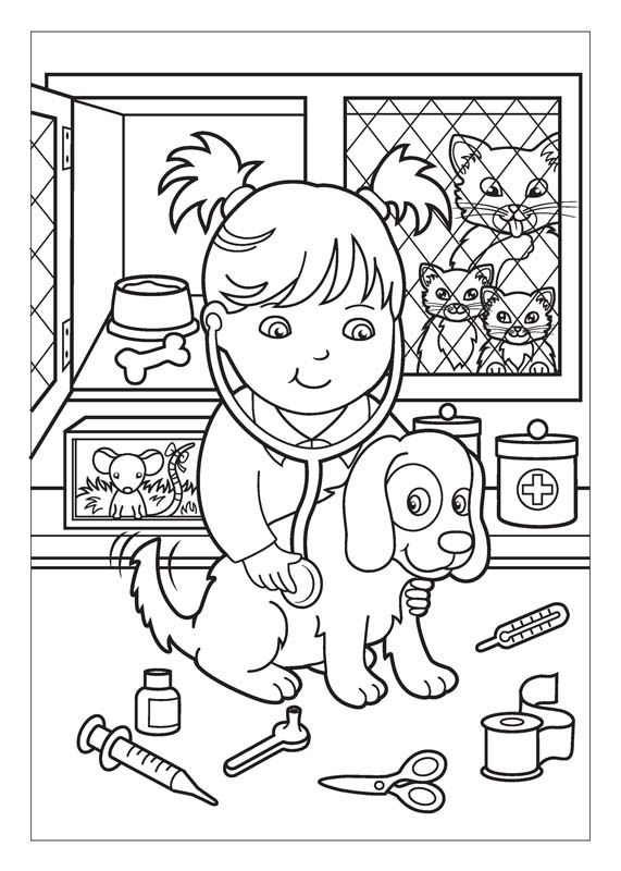 veterinary coloring pages - vet coloring page