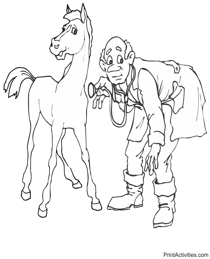 veterinary coloring pages - vet