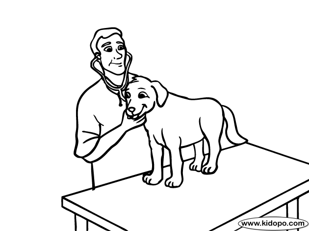 veterinary coloring pages - veterinarian 2