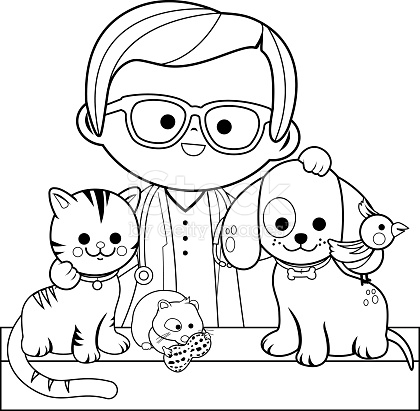 veterinary coloring pages - veterinarian and pets coloring book page gm