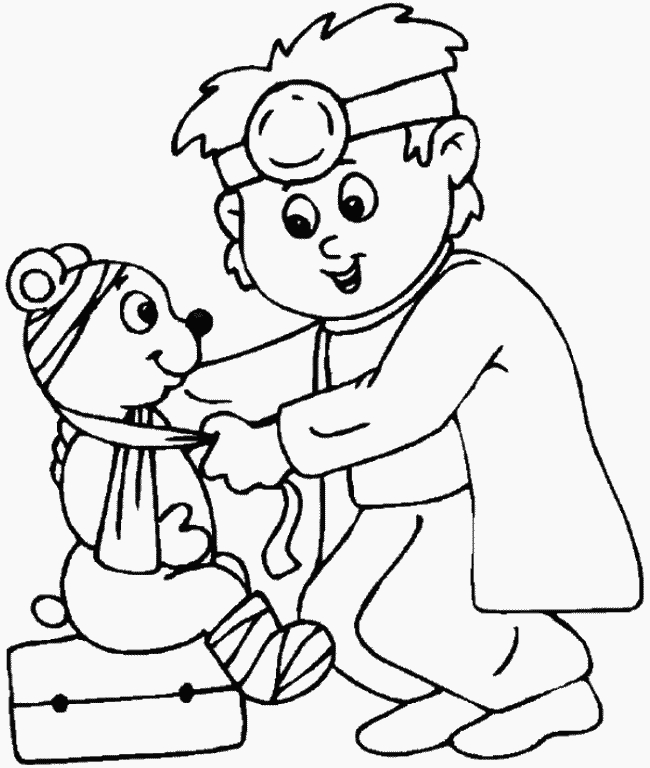 veterinary coloring pages - veterinarian coloring page