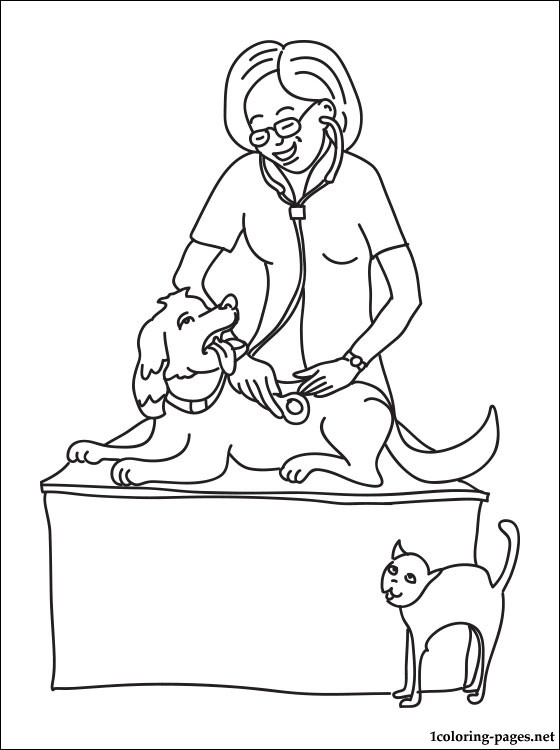 veterinary coloring pages - veterinary physician coloring page