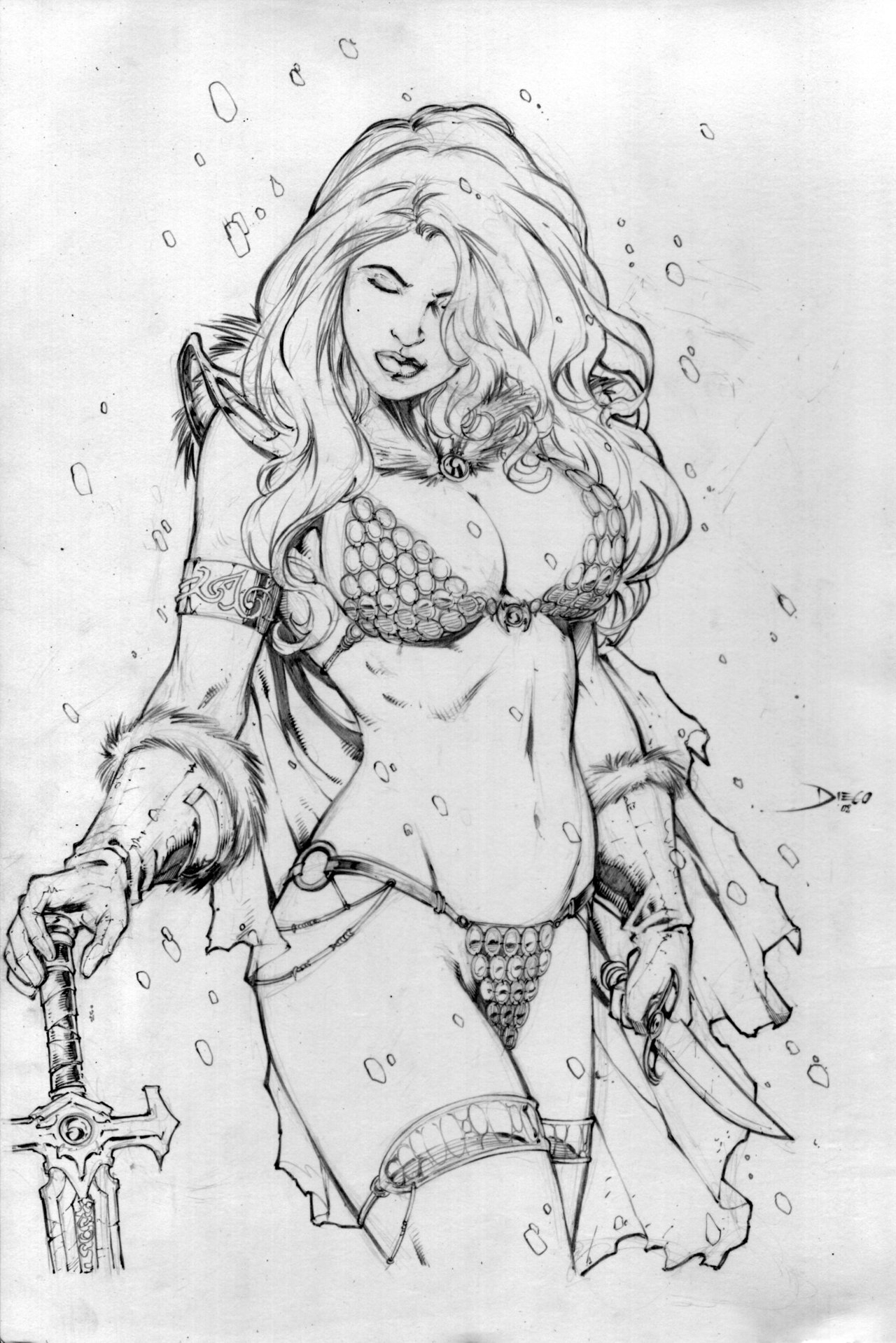 viking coloring pages - Red Sonja