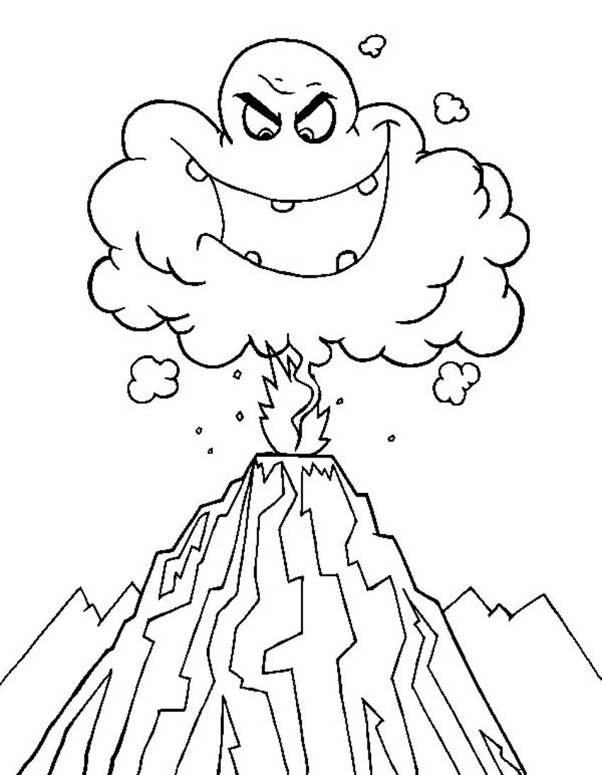 volcano coloring pages - printable volcano coloring pages