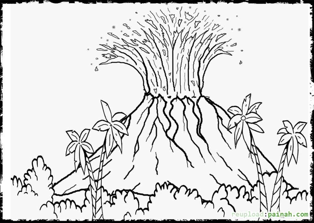volcano coloring pages -