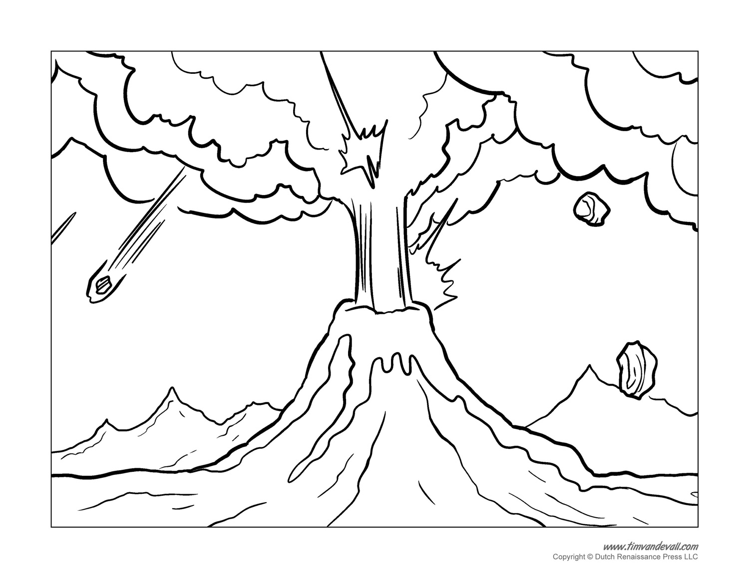 Volcano Coloring Pages - Volcanoes Erupting Free Coloring Pages