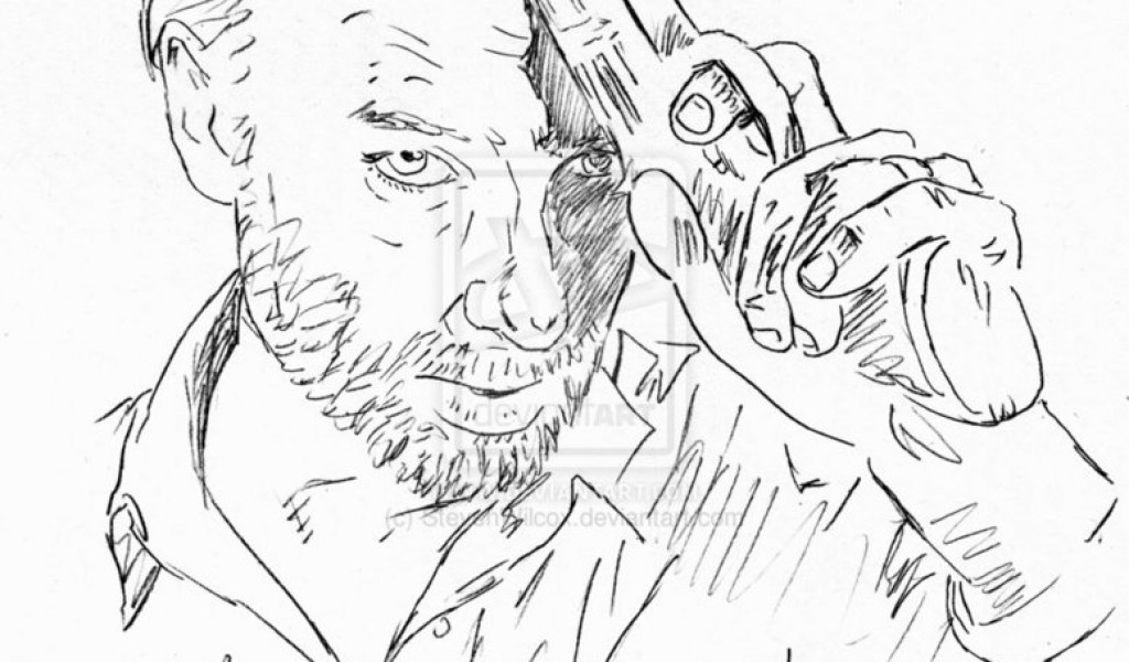walking dead coloring pages - easy walking dead sketch templates