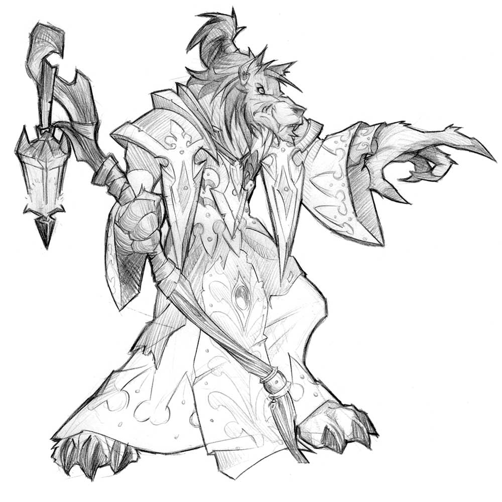 warriors coloring pages - wowc worgen sketch2