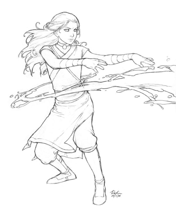 water coloring pages - katara lines
