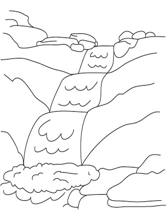 waterfall coloring page - chute d eau
