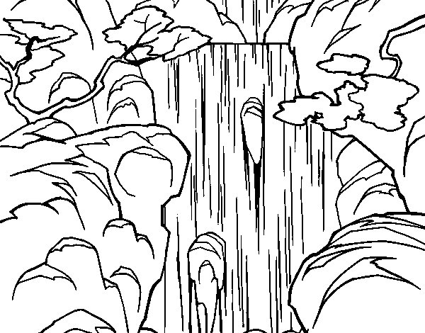 waterfall coloring page - cascada
