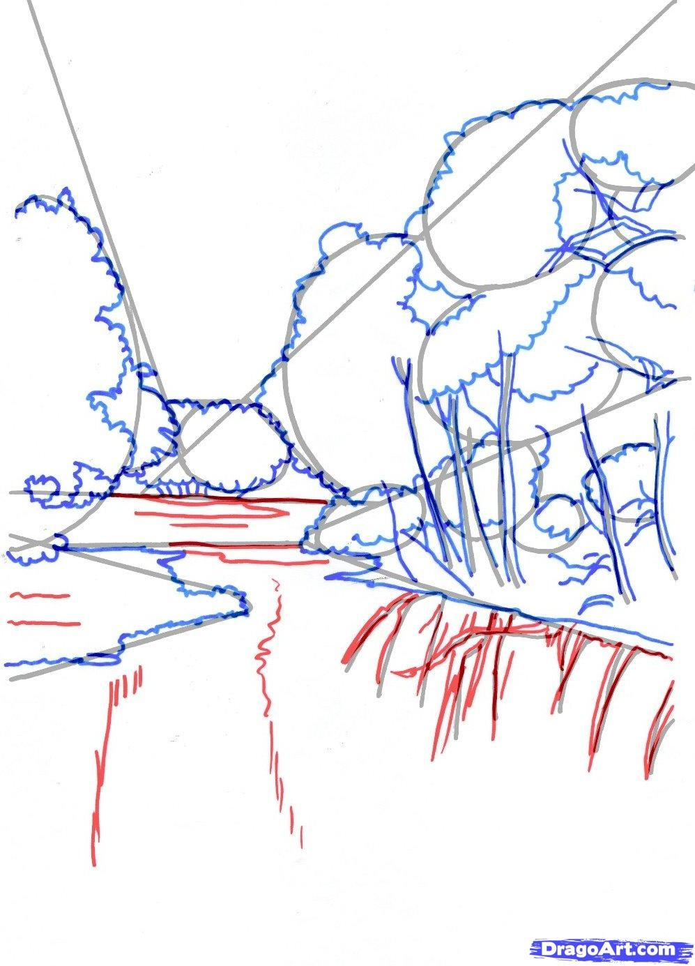 waterfall coloring page - how to draw a realistic river