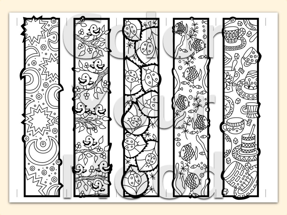 waterfall coloring page - printable zendoodle bookmarks diy print