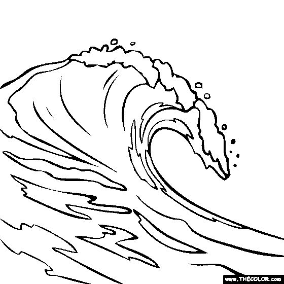 waves coloring page - wave drawing