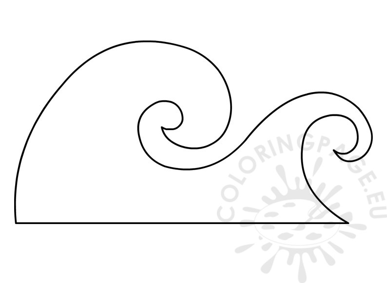 waves coloring page - ocean wave template