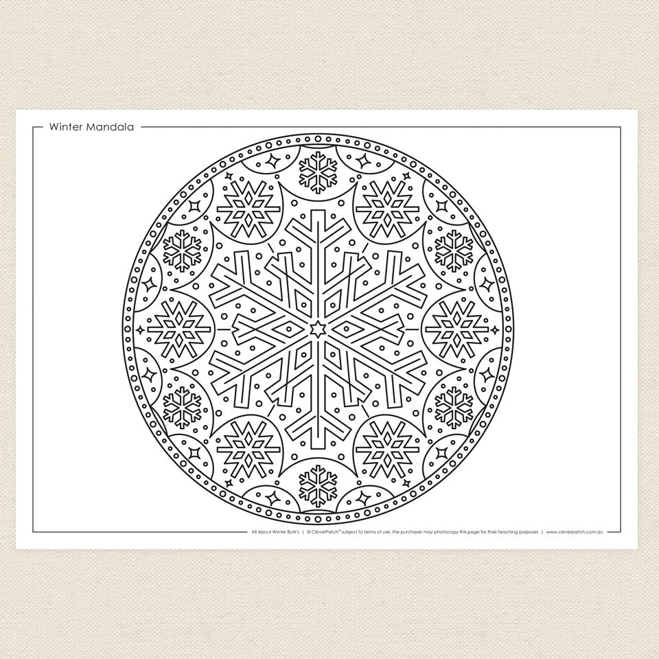weather coloring pages - winter mandala