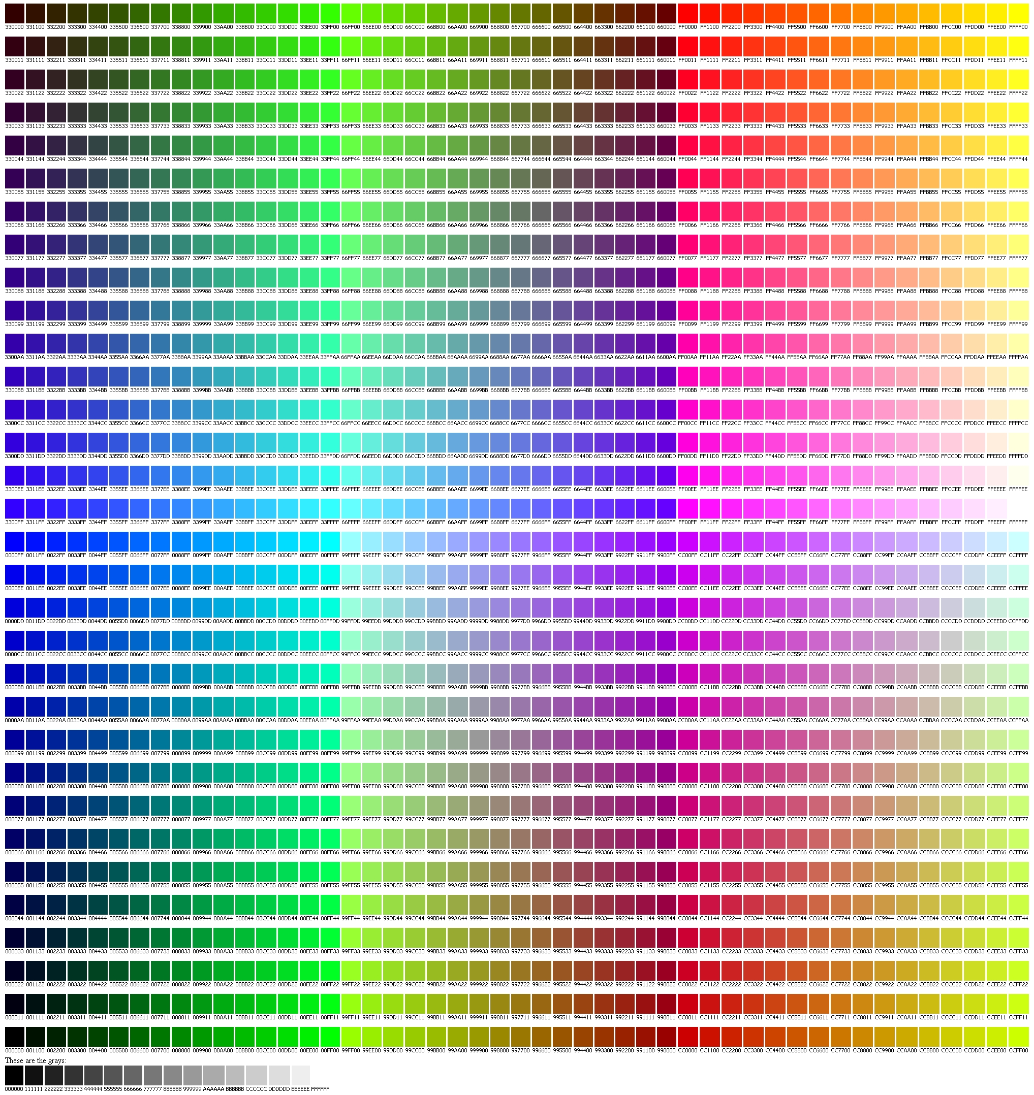 web page colors - colors