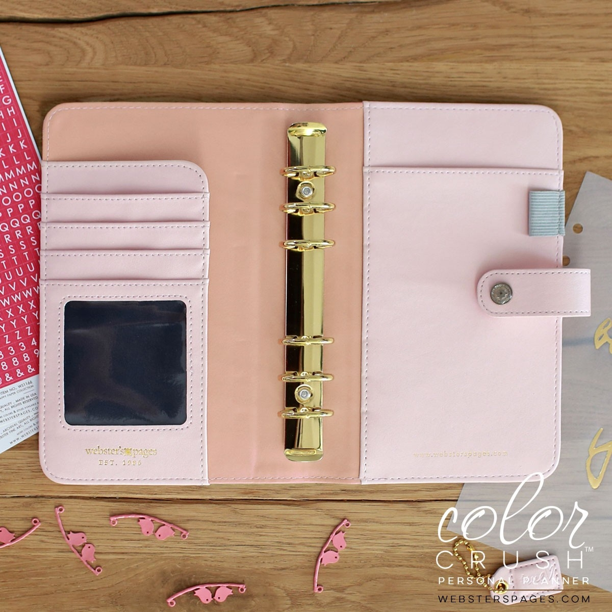 websters pages color crush - personal planner platinum rose binder only