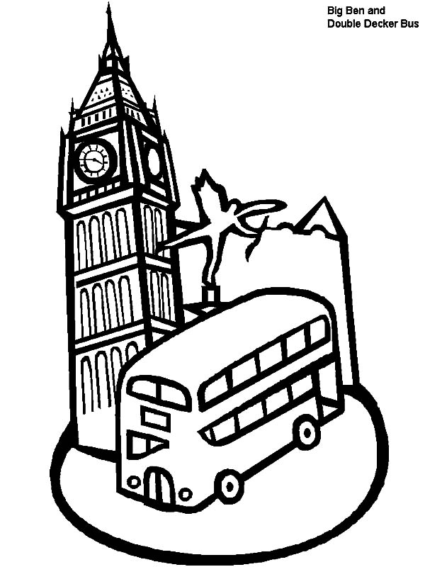 whale coloring pages - london clock tower and double decker bus in london coloring pages