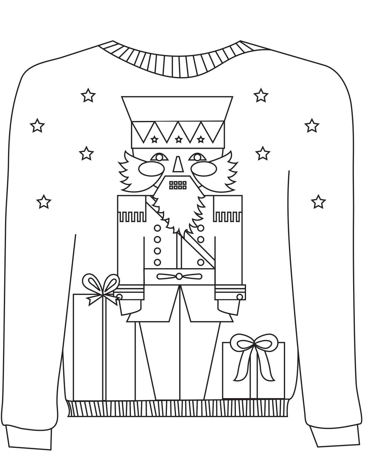 white house coloring page - 16 ugly christmas sweater colouring pages