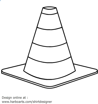 white house coloring page - traffic cone clipart