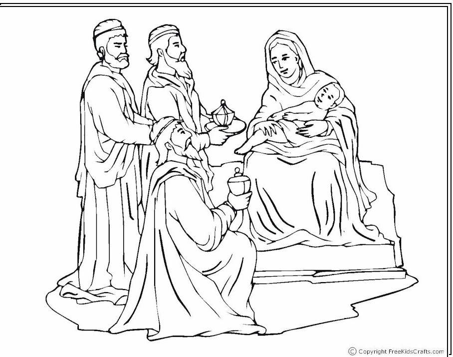 White House Coloring Page - Wisemen at the Nativity Coloring Page