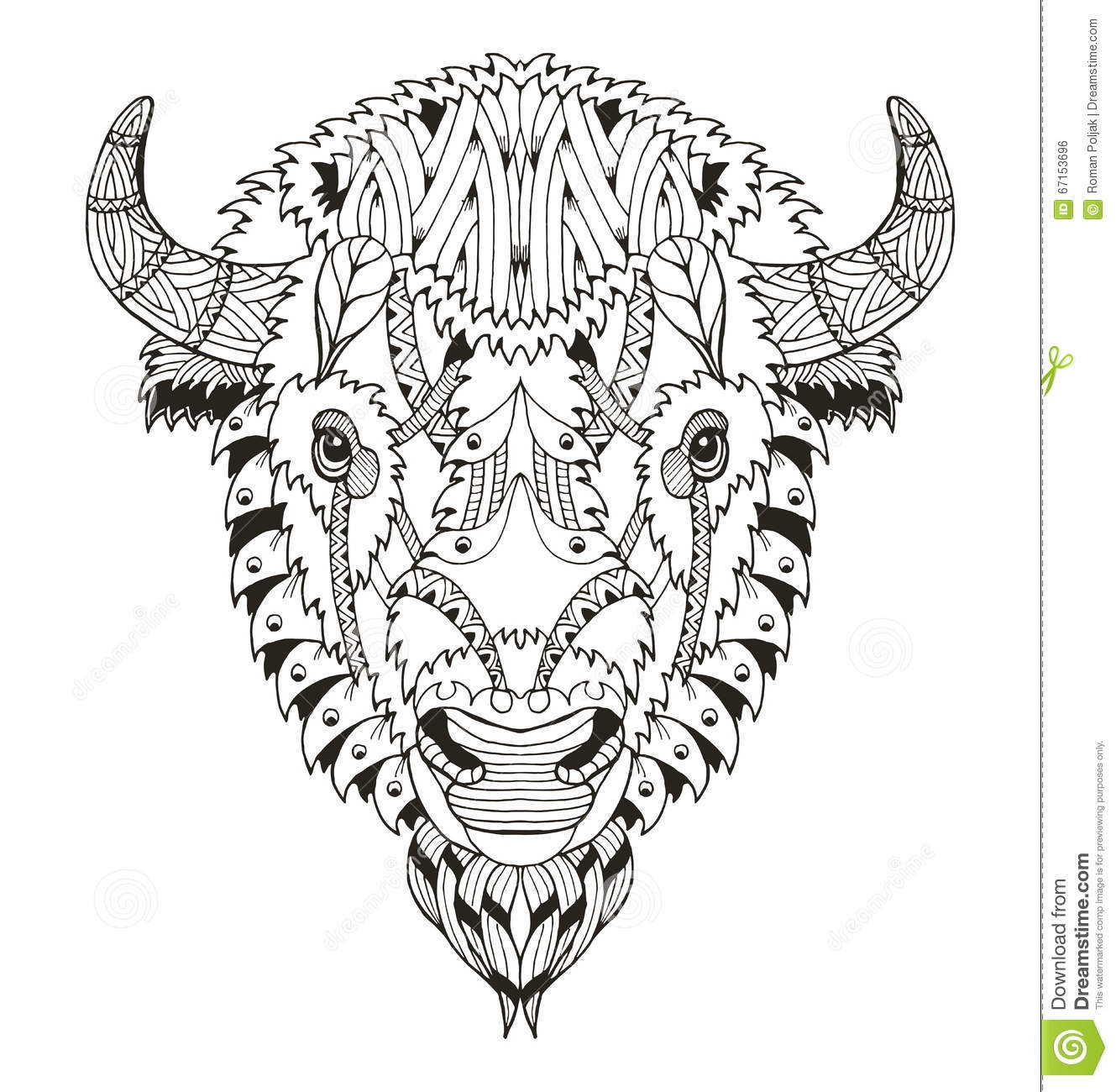 wildlife coloring pages - stock illustration american buffalo head zentangle stylized vector illustration freehand pencil hand drawn pattern zen art ornate lace image