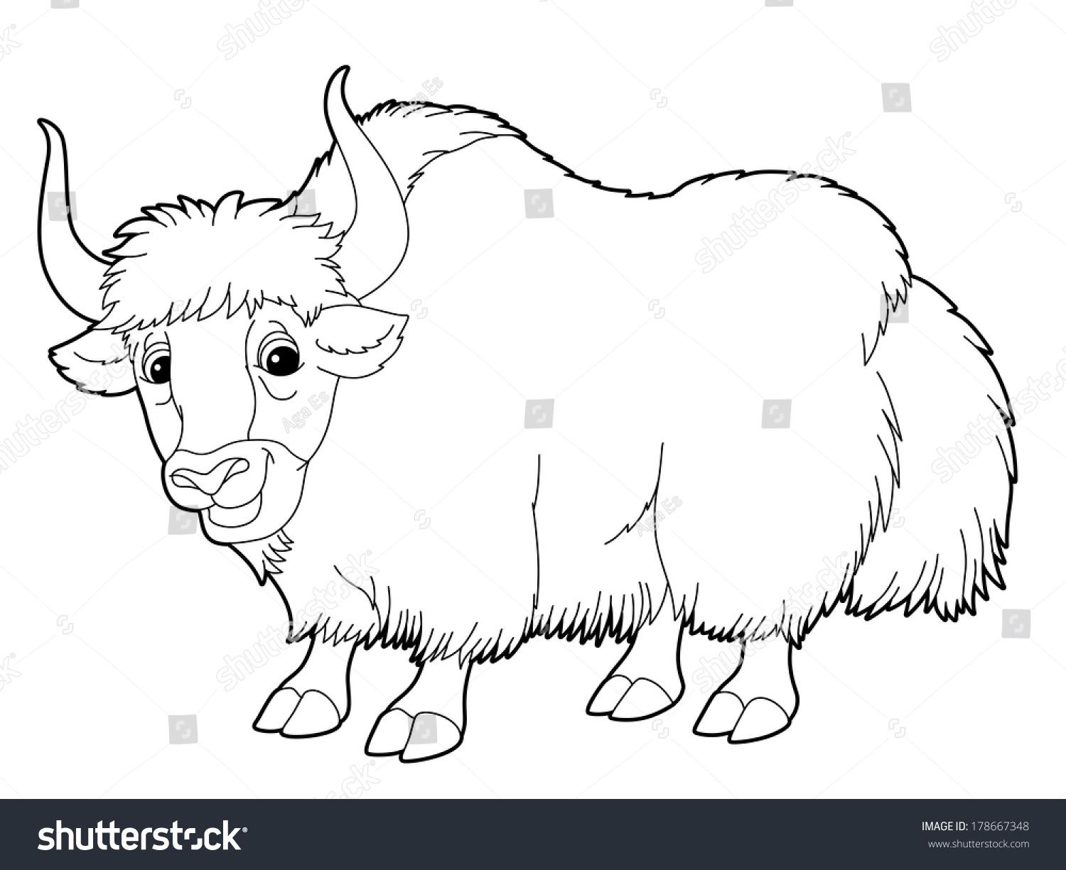 wildlife coloring pages - stock photo cartoon animal yak coloring page illustration for the children