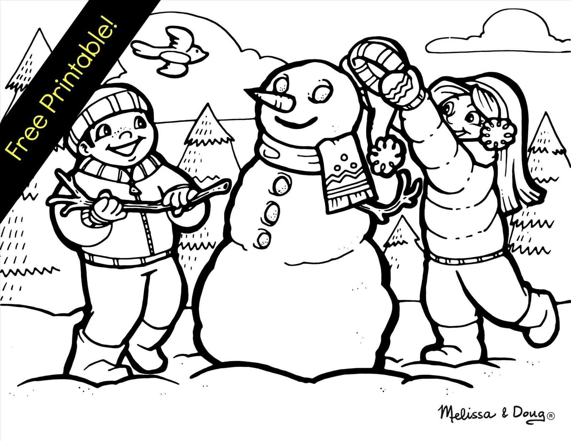 wildlife coloring pages - easy winter drawings for kids