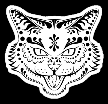 wildlife coloring pages - sugar skull kitty black and white p=sticker