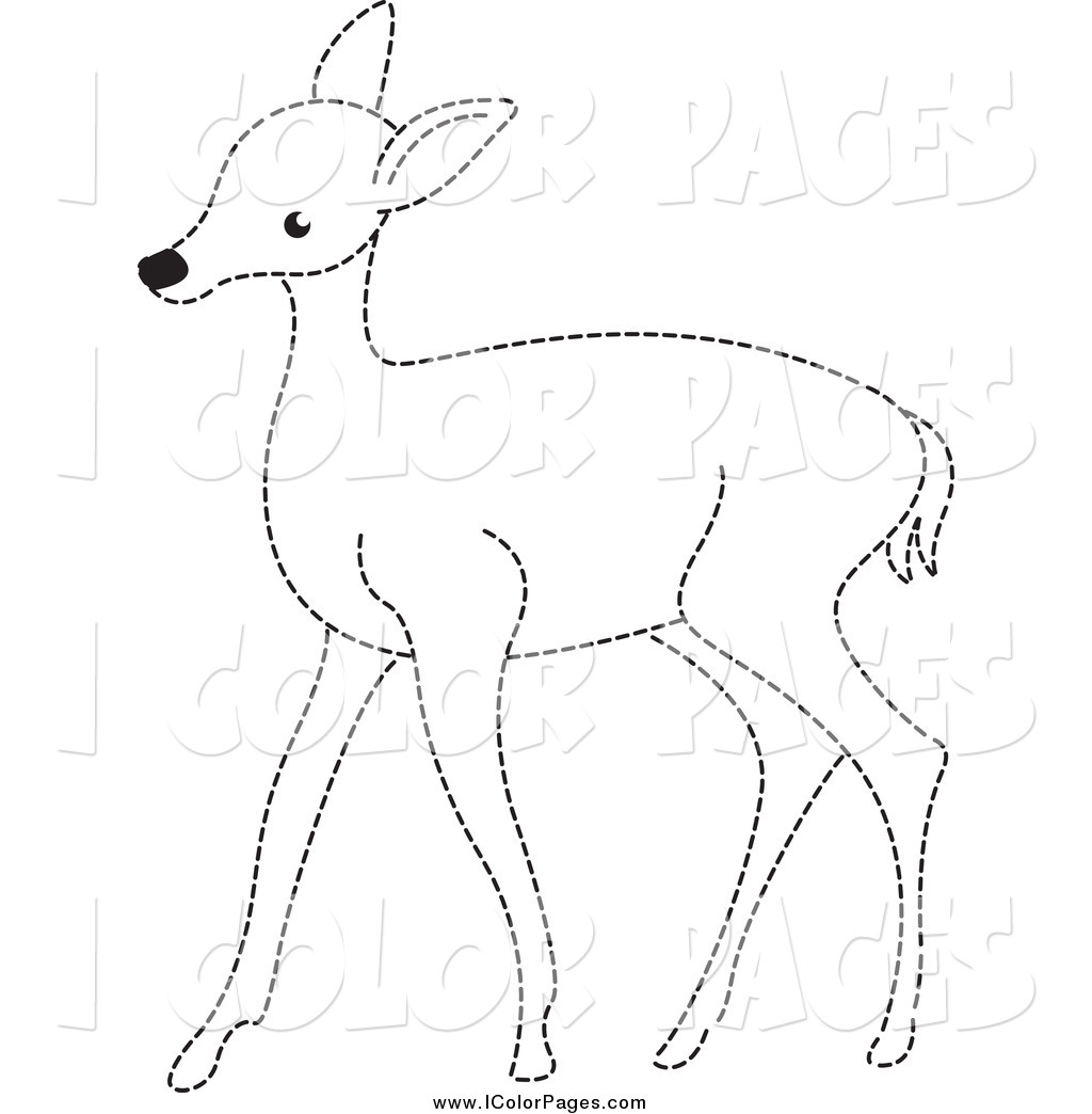 Wildlife Coloring Pages - Vector Coloring Page Of A Black and White Dotted Deer by