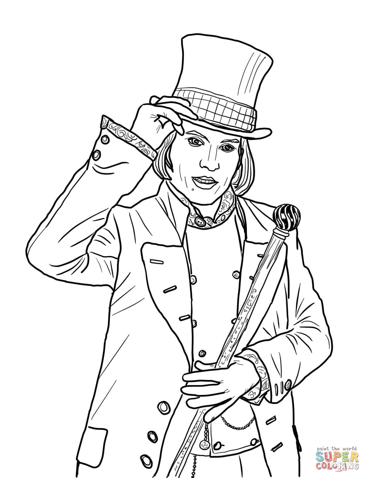 Willy Wonka Coloring Pages - Willy Wonka with Johnny Depp Coloring Page