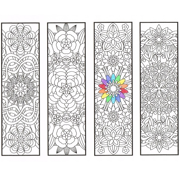 winter coloring pages adults - flower mandala bookmarks page1