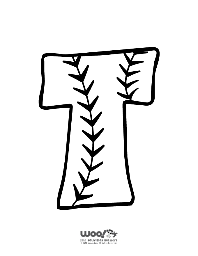 winter coloring pages - baseball alphabet t