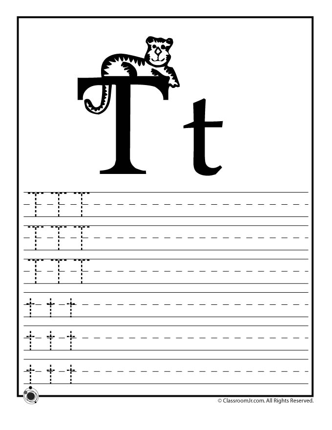 winter coloring pages - letter t practice