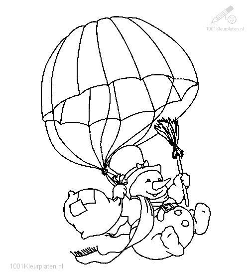 winter coloring pages - Sneeuwpop Kleurplaat 286