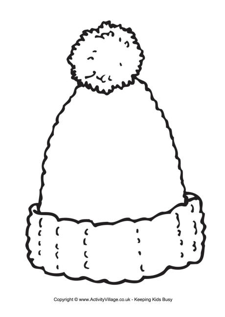 winter hat coloring page - woolly hat writing frame