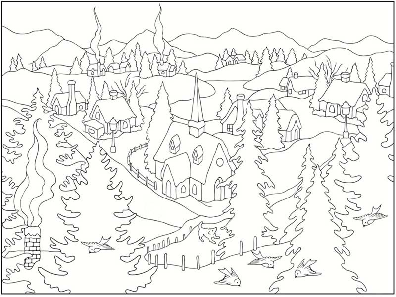 21 Winter Scene Coloring Pages Printable | FREE COLORING PAGES