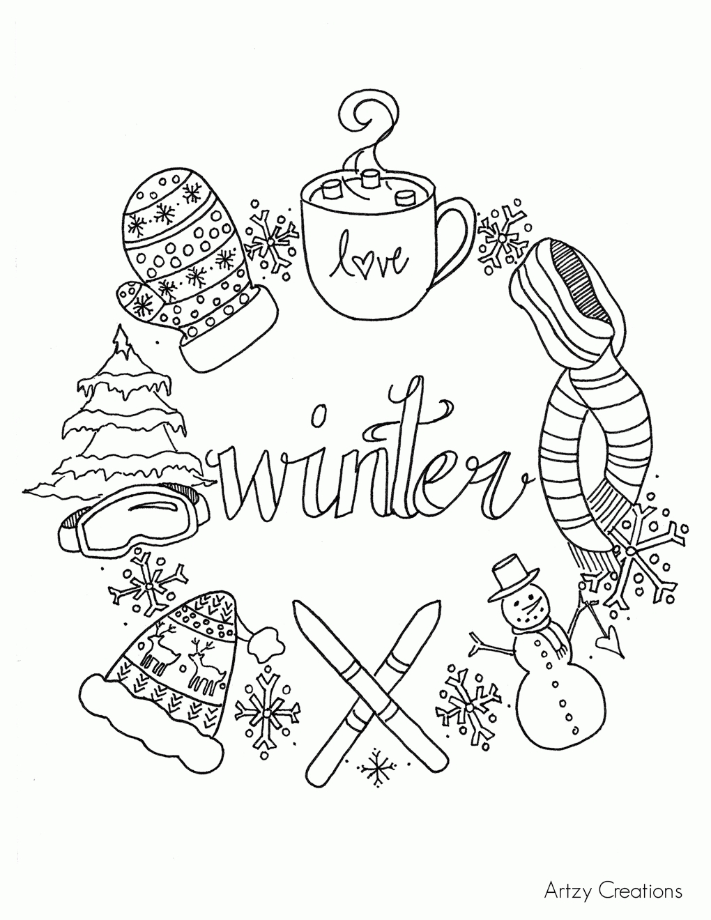 winter scene coloring pages - free printable coloring pages of winter scenes