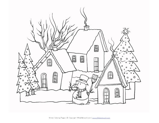 coloring page winter. winter scene coloring pages  page 21 Winter Scene Coloring Pages Printable FREE COLORING PAGES