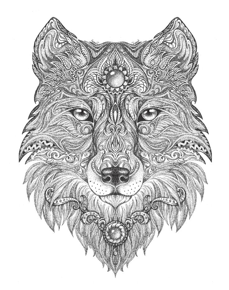 wolf coloring pages for adults - adult colouring pages