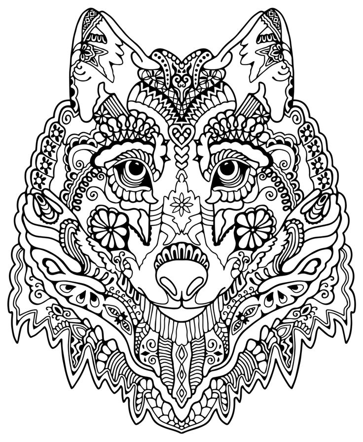 wolf coloring pages for adults -