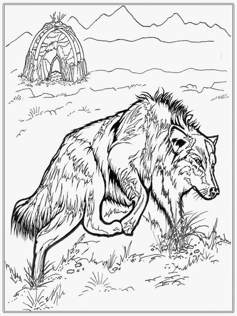 wolf coloring pages for adults - realistic wolf adult coloring pages
