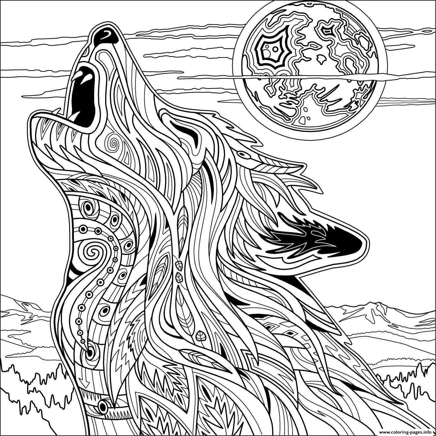Wolf Coloring Pages for Adults - Wolf for Adult Coloring Pages Printable