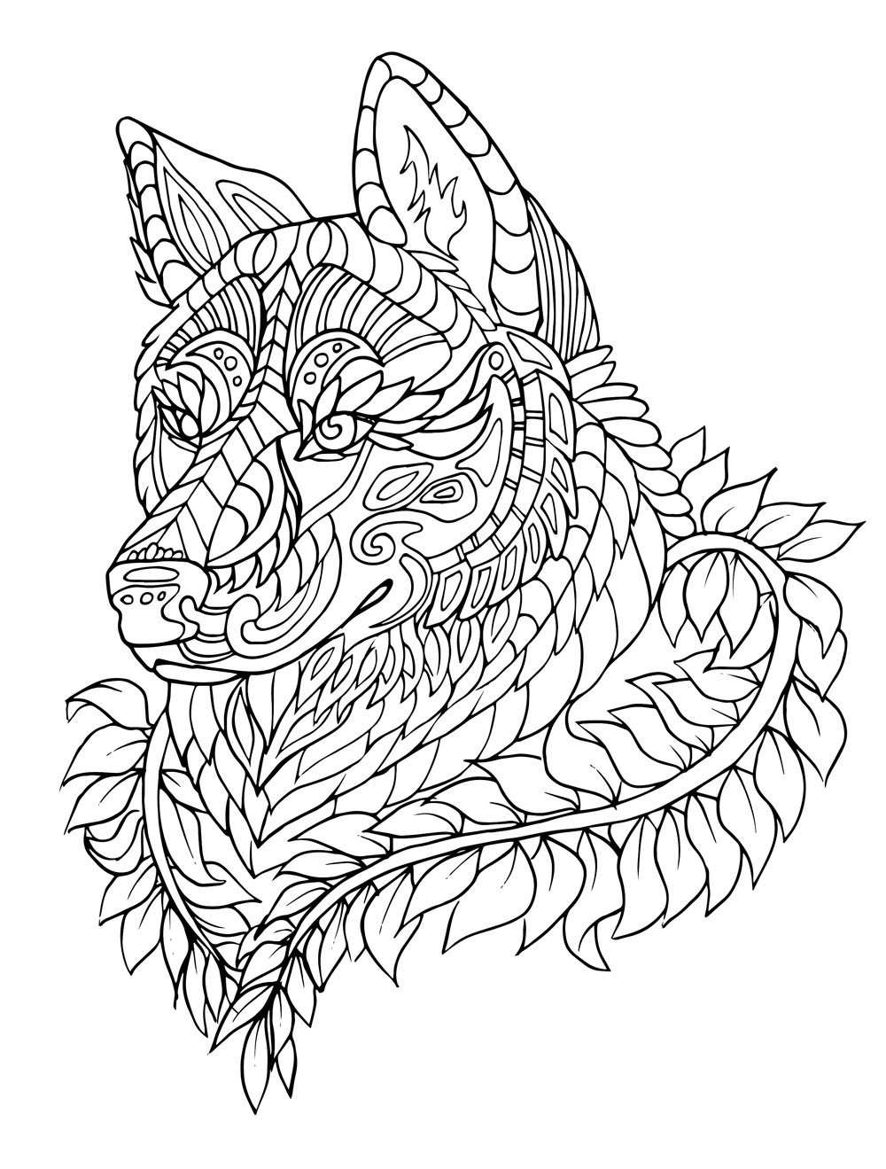 wolf coloring pages for adults - wolf mandala coloring pages for adults sketch templates