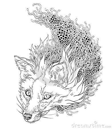 wolf coloring pages printable - stock illustration fox head tattoo psychedelic zentangle white image