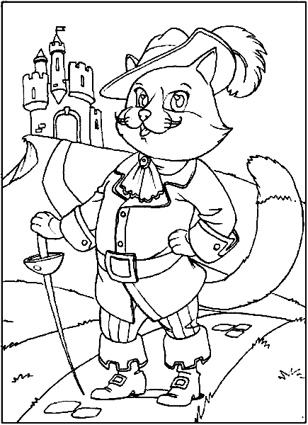 wolf coloring pages - der gestiefelte kater