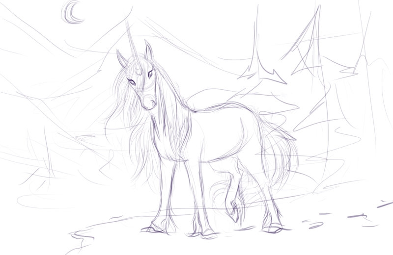 wolf coloring pages - The Last Unicorn WIP